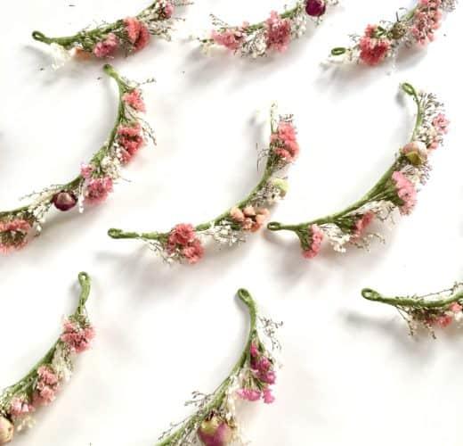 Barrettes de mariage en fleurs séchées et stabilisées - Les Fleurs Dupont