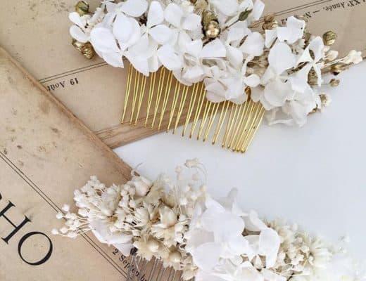 Peignes de mariage en fleurs naturelles, séchées et stabilisées - Les Fleurs Dupont