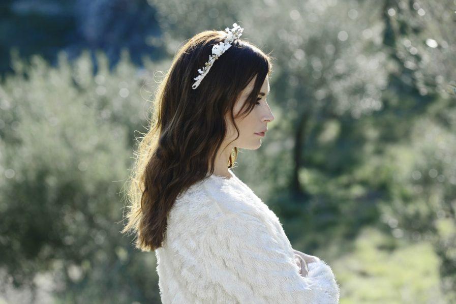 Barrette de mariage Aura en fleurs naturelles - accessoire de mariée en fleurs séchées