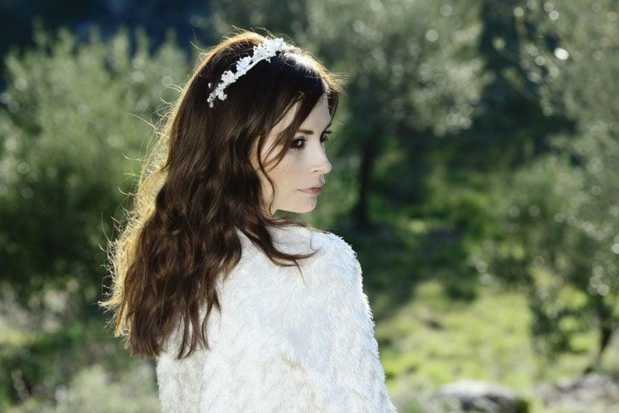 Barrette de mariage Candide en fleurs naturelles - Accessoire de la mariée en fleurs séchées et stabilisées
