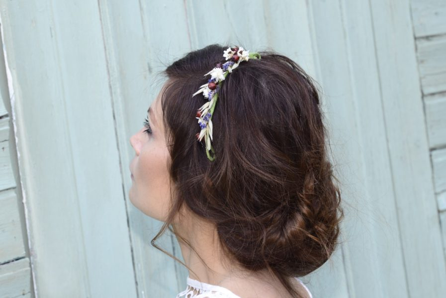Barrette de mariage Cérès en fleurs naturelles - accessoire de mariee en fleurs séchées