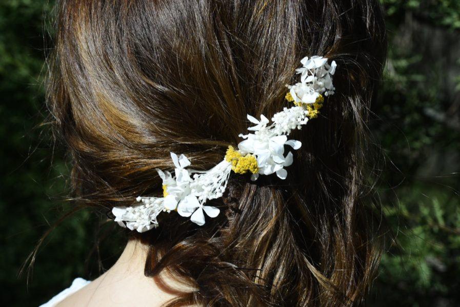Barrette de mariage Hysope - Accessoire pour la mariée en fleurs séchées et stabilisées - Les Fleurs Dupont