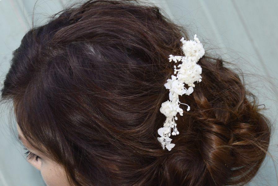 Barrette de mariage IMMORTELLE en fleurs naturelles - Accessoires de mariée en fleurs séchées et stabilisées - Les Fleurs Dupont