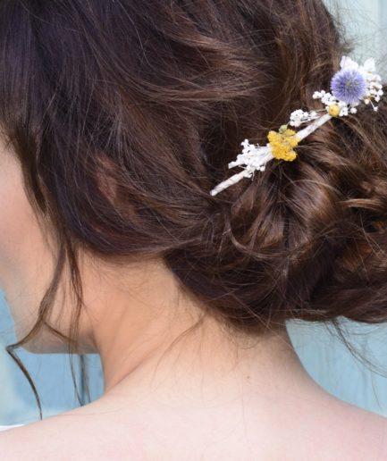 Barrette de mariage Violine en fleurs naturelles