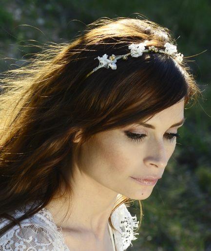 Headband de mariage Aura en fleurs naturelles - Accessoire de mariage en fleurs séchées et stabilisées - Les Fleurs Dupont