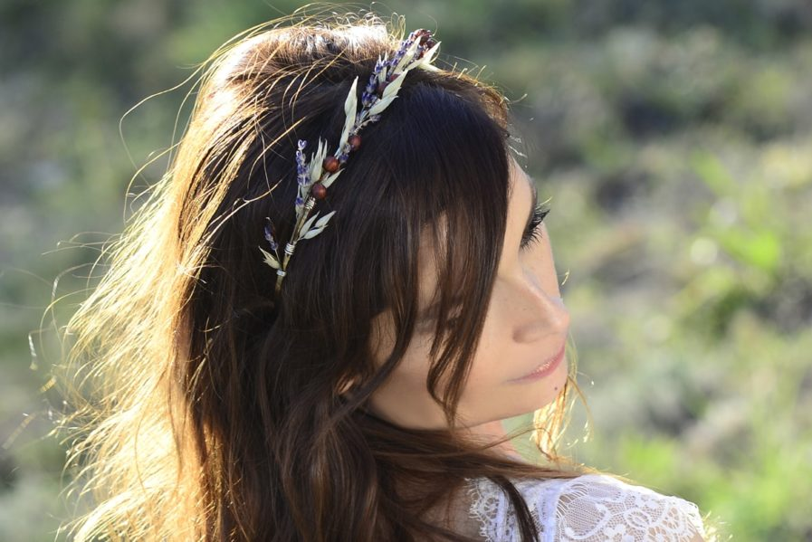 Headband de mariage Cérès en fleurs naturelles - Accessoire mariage en fleurs séchées et stabilisées - Les Fleurs Dupont