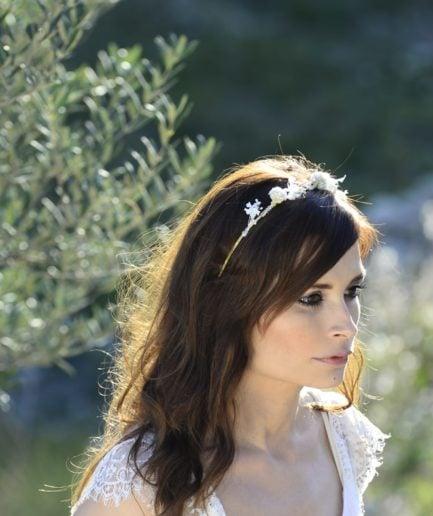 Headband de mariage Immortelle en fleurs naturelles - Accessoire mariage en fleurs séchées et stabilisées - Les Fleurs Dupont