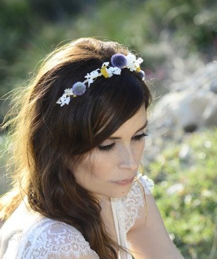 Headband de mariage Violine en fleurs naturelles - Accessoire mariage en fleurs séchées et stabilisées - Les Fleurs Dupont
