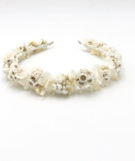 Headband de mariage Immortelle en fleurs séchées d'immortelles