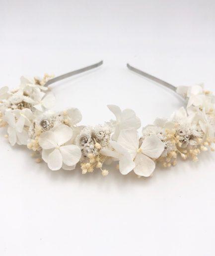 Headband de mariage Immortelle en fleurs séchées et stabilisées