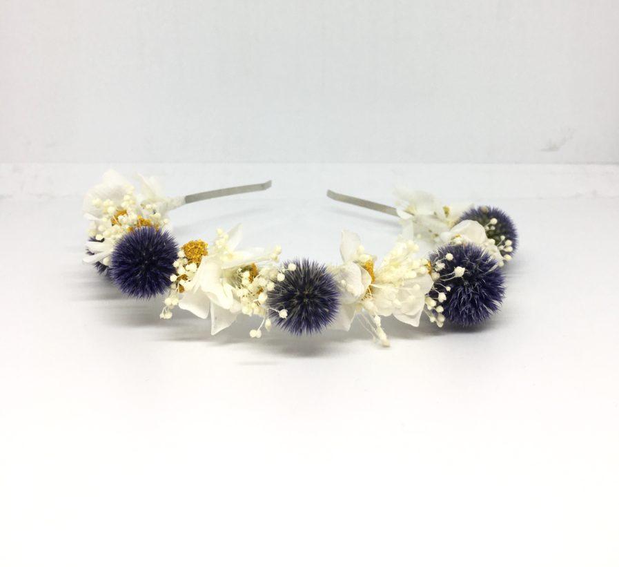 Headband de mariage Violine en fleurs séchées et stabilisées