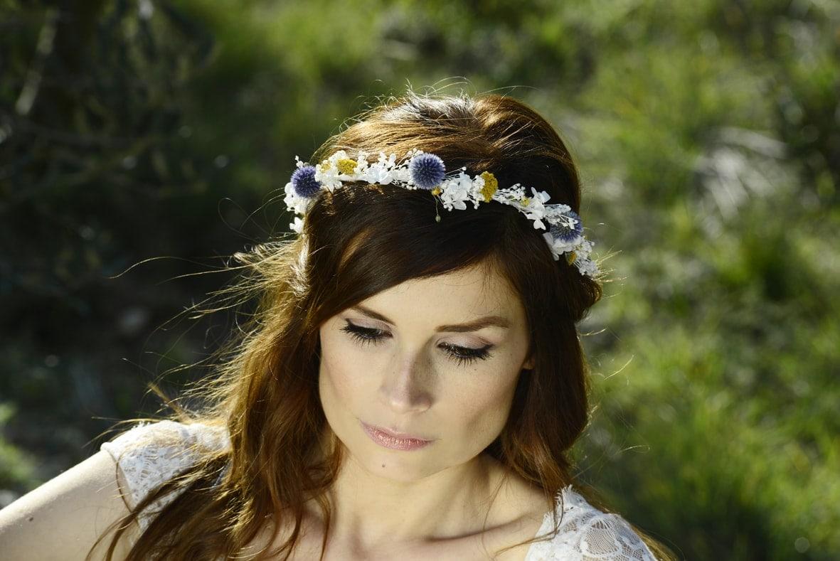 couronne de mariage violine en fleurs naturelles les fleurs dupont accessoires de mari e en. Black Bedroom Furniture Sets. Home Design Ideas