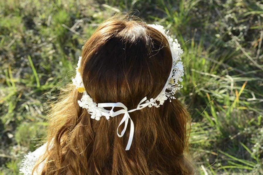 Couronne de mariage Hysope en fleurs naturelles - Accessoire de mariage en fleurs séchées et stabilisées - Les Fleurs Dupont
