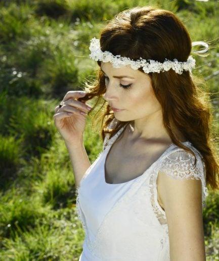 Couronne de mariage Immortelle en fleurs naturelles - Accessoire de mariage en fleurs séchées et stabilisées - Les Fleurs Dupont