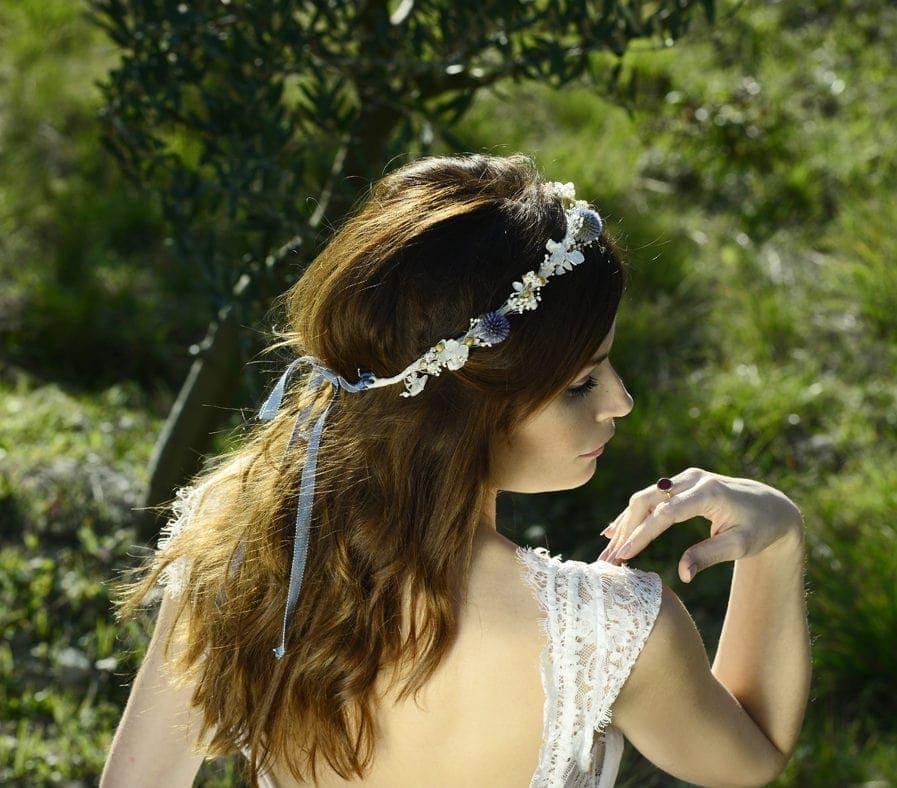 Couronne de mariage Violine - Accessoire de mariage en fleurs séchées et stabilisées - Les Fleurs Dupont