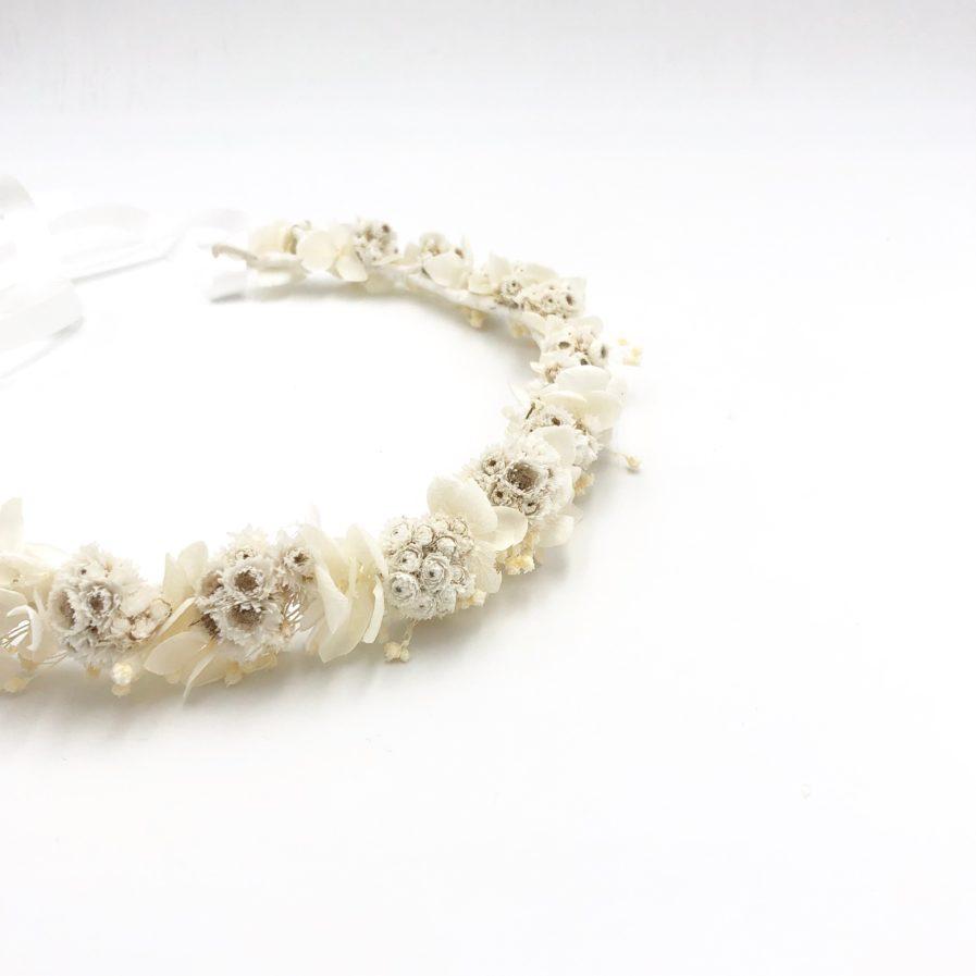 Couronne de fleurs mariage Immortelle aux tons ivoire et blanc