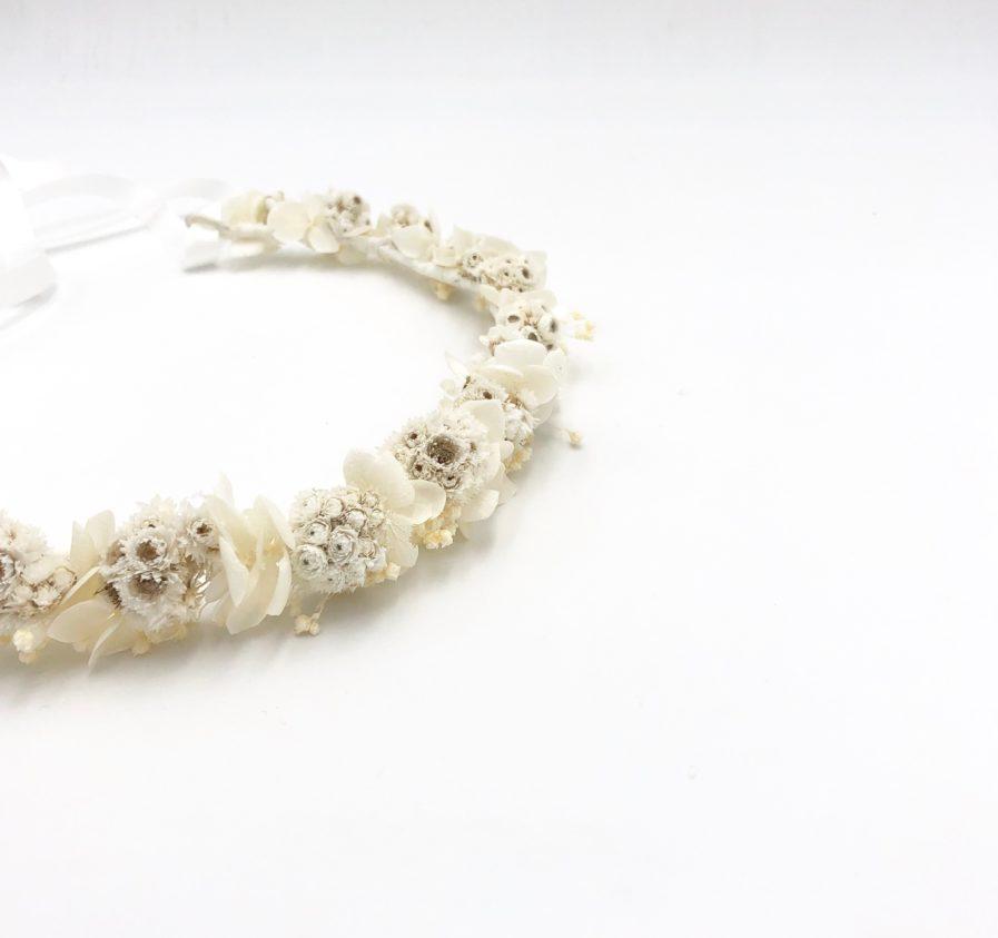 Couronne de fleurs séchées Immortelle - Tons blancs et ivoire