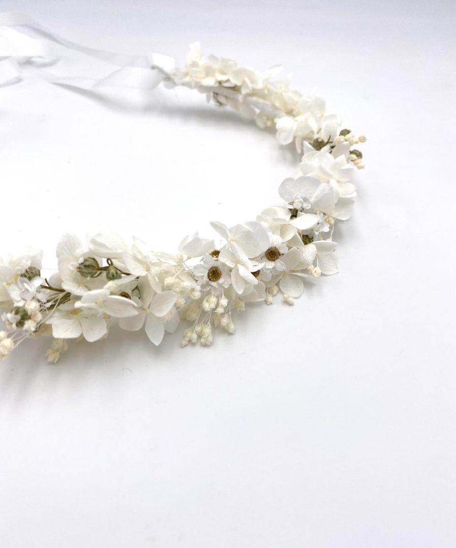 Couronne de mariage Candide en fleurs séchées blanches