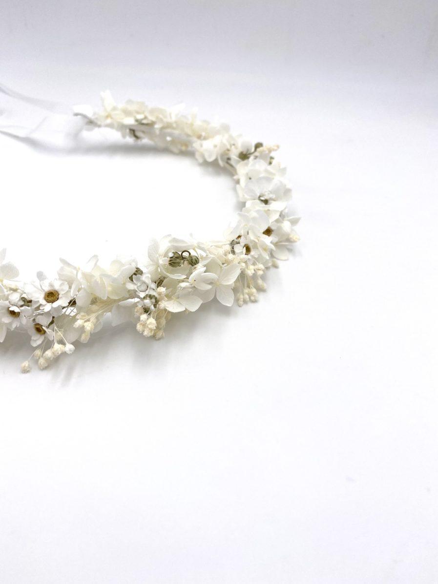 Couronne en fleurs séchées Candide pour la mariée romantique