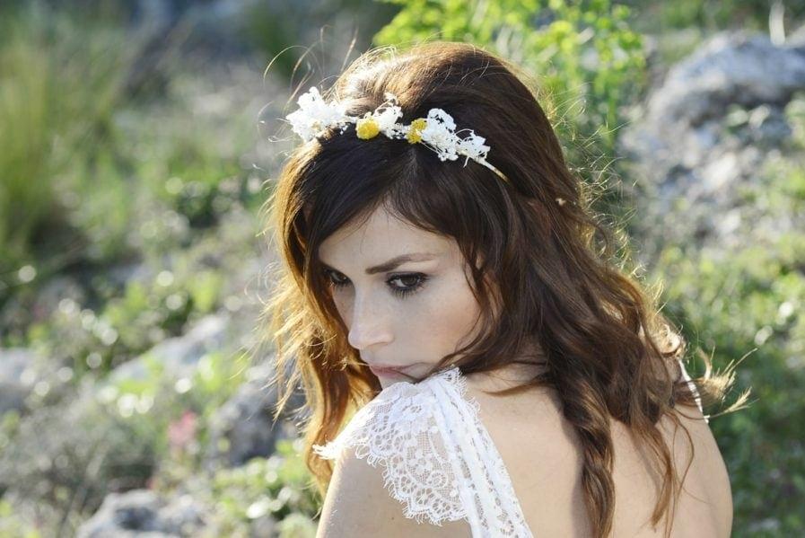 Headband de mariage Hysope en fleurs naturelles - Accessoire mariage en fleurs séchées et stabilisées - Les Fleurs Dupont