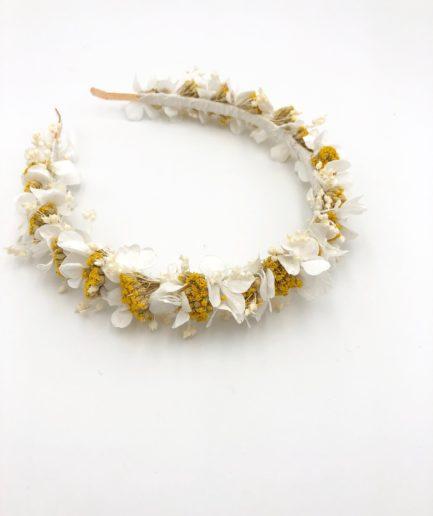 Headband de mariage en fleurs séchées Hysope aux tons moutarde