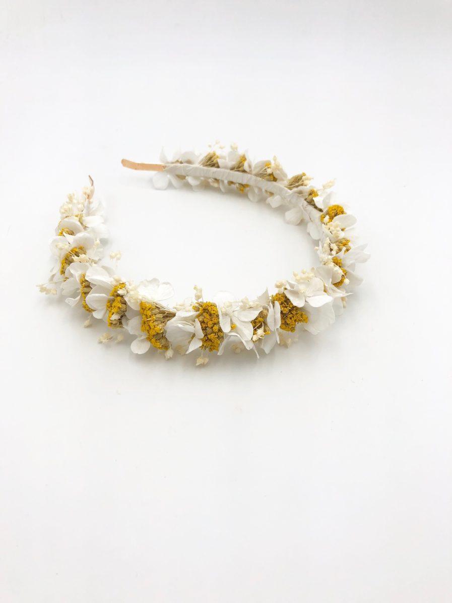 Headband en fleurs séchées et stabilisées Hysope pour la mariée