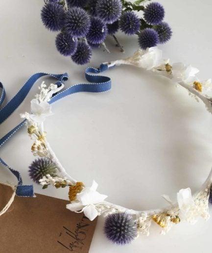 Couronne de mariage en fleurs séchées et stabilisées VIoline