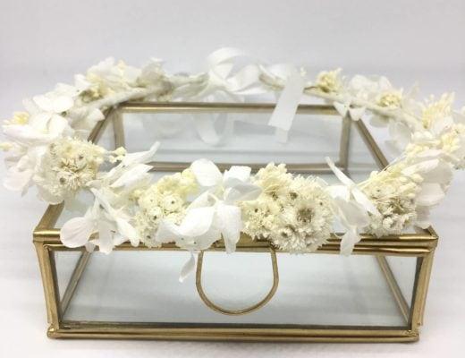 Couronne de mariage Immortelle Collection Immaculée - Couronne de mariage en fleurs séchées et stabilisées
