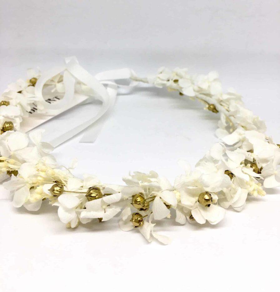 Couronne de mariée Aura en fleurs naturelles séchées et stabilisées - Or et blanc