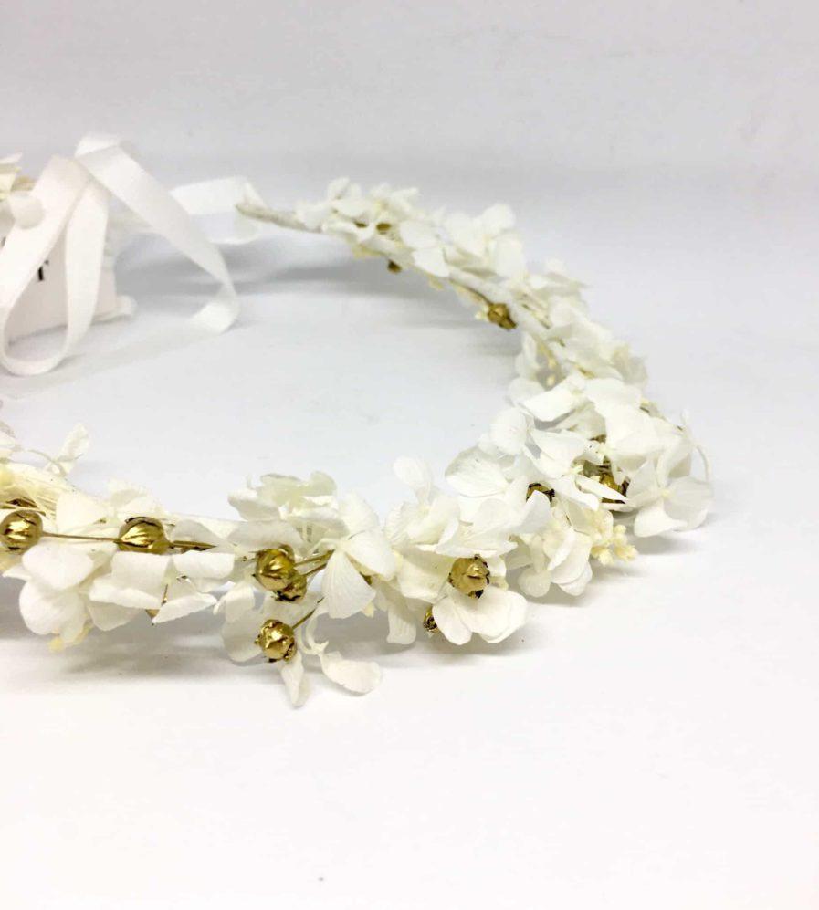 Couronne de mariée Aura en fleurs naturelles séchées et stabilisées - Accessoire de mariage en fleurs