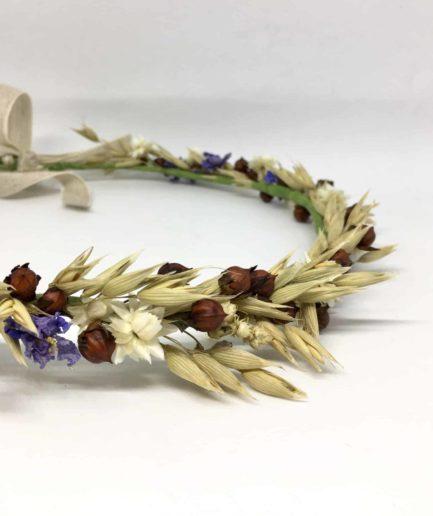 Couronne de fleurs Cérès - Accessoire de mariage en fleurs séchées et stabilisées
