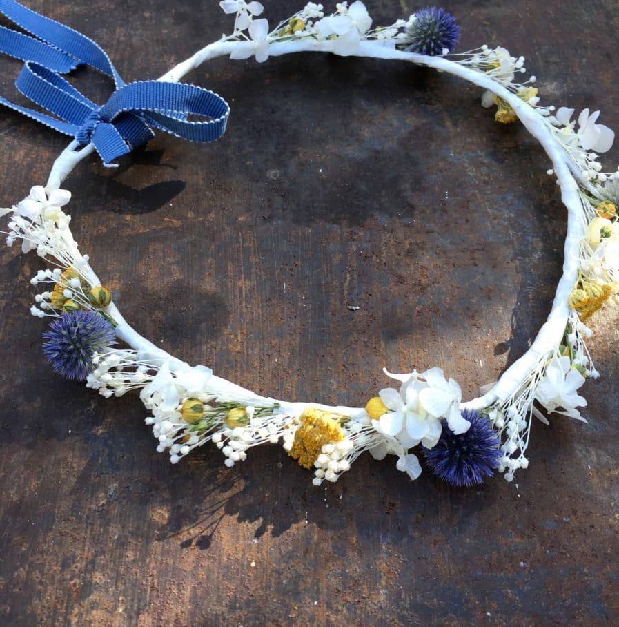 Couronne de mariage Violine en fleurs séchées et stabilisées - Les Fleurs Dupont