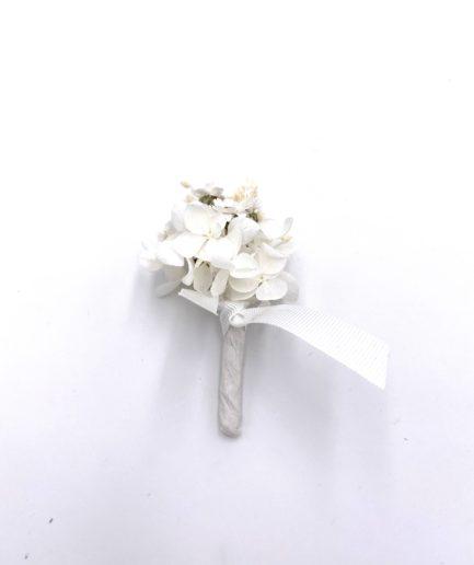 Boutonnière de mariage Candide en fleurs séchées