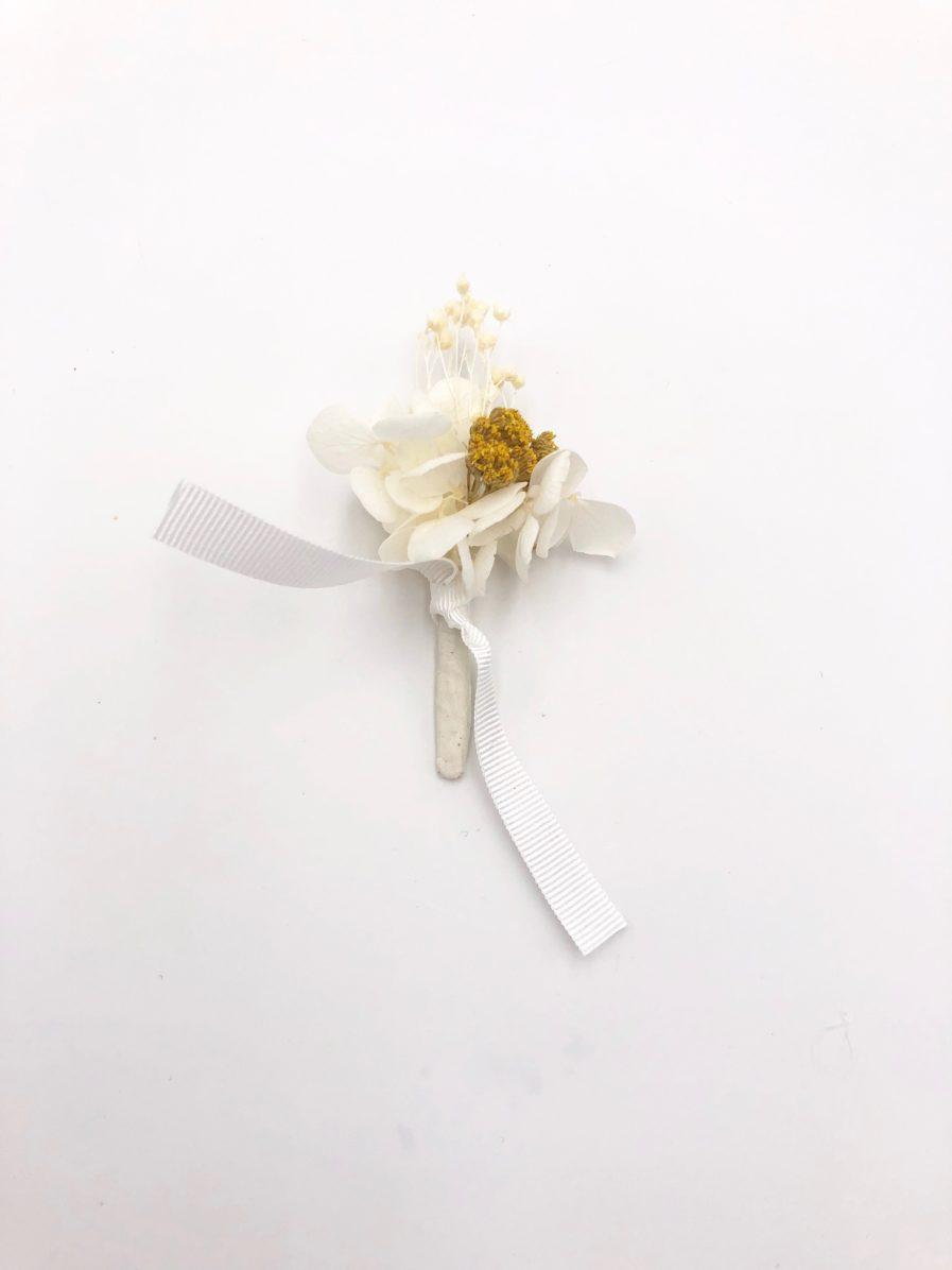 Boutonnière Hysope en fleurs séchées et stabilisées