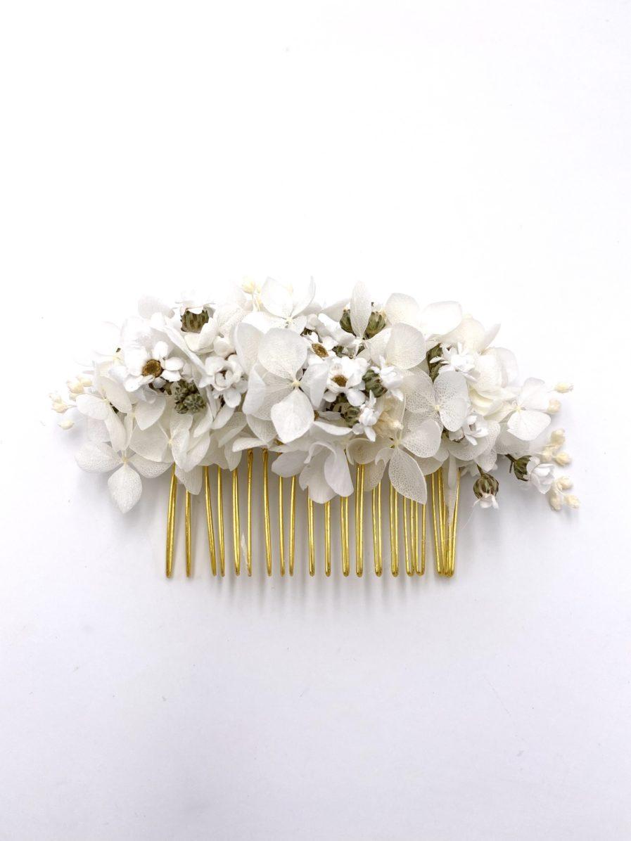 Peigne de mariée Candide en fleurs séchées et stabilisées