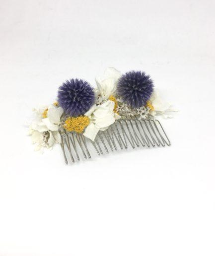 Peigne Violine en fleurs séchées et stabilisées