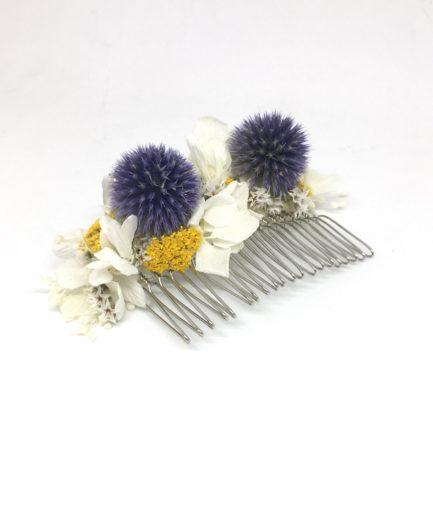 Peigne Violine en fleurs séchées et stabilisées - Tons bleus et moutarde