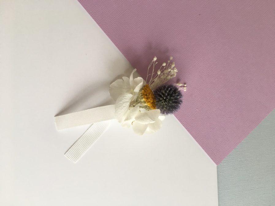 Boutonnière de mariage Violine en fleurs séchées