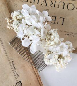 Peigne de mariage Immortelle en fleurs naturelles - Accessoire de mariage en fleurs séchées et stabilisées - Les Fleurs Dupont