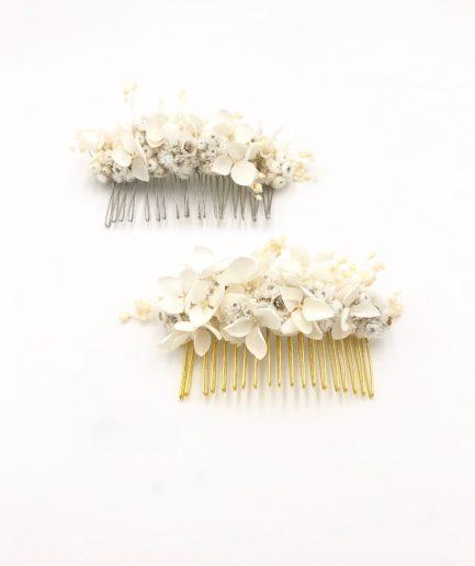Peigne de fleurs séchées Immortelle - Couleur ivoire