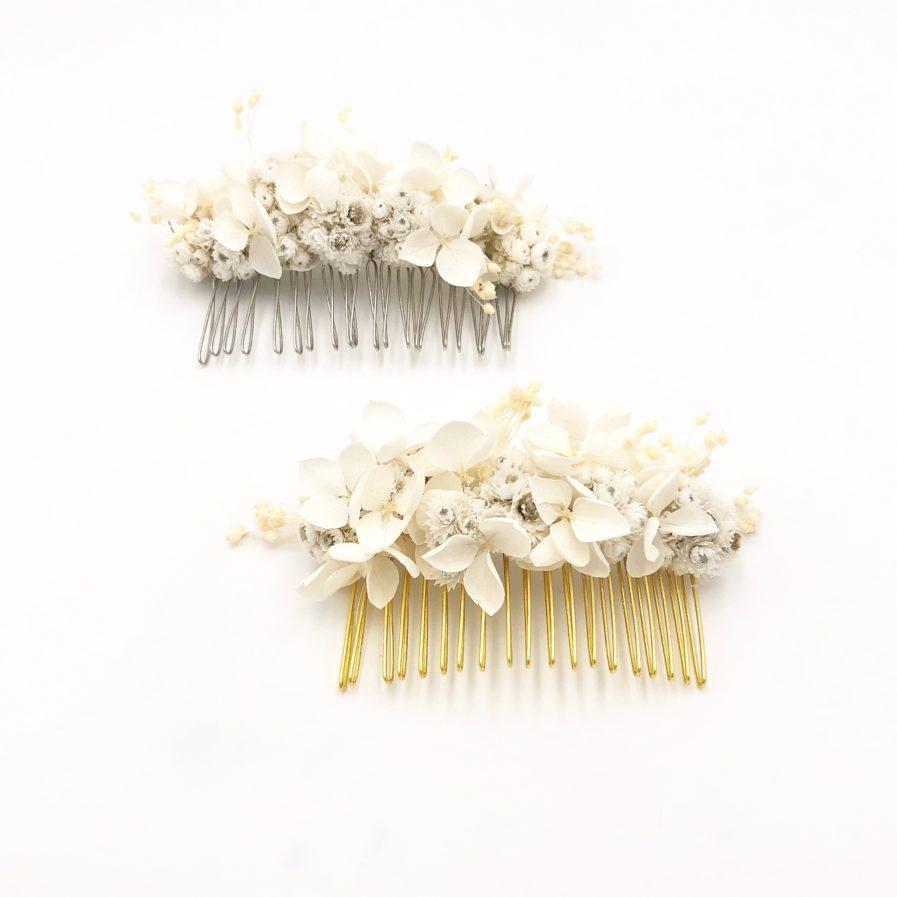 Peigne de fleurs stabilisées Immortelle - Mariage chic