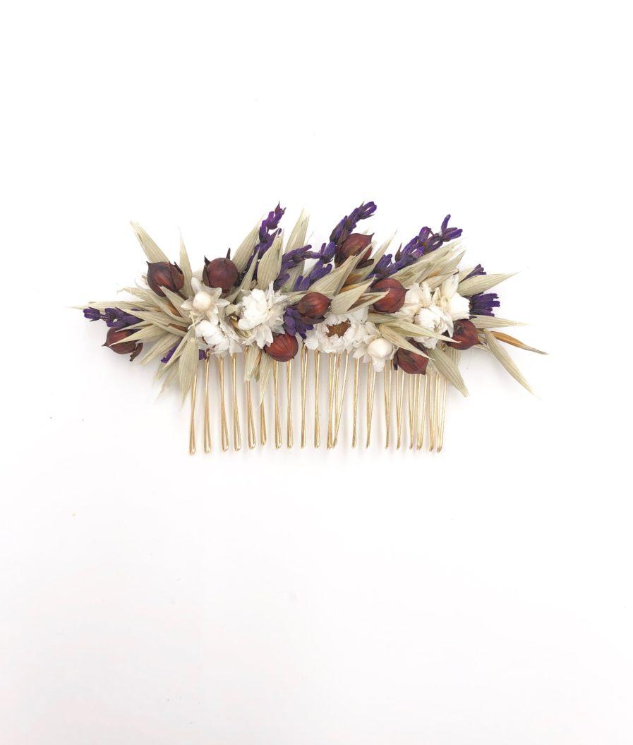 Peigne de mariée Cérès en fleurs séchées