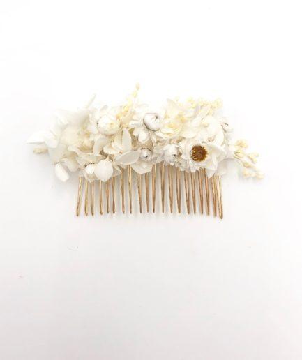 Peigne de mariée Candide en fleurs séchées