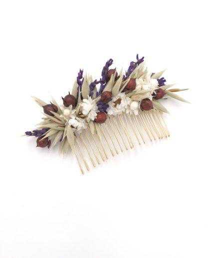 Peigne en fleurs séchées Cérès