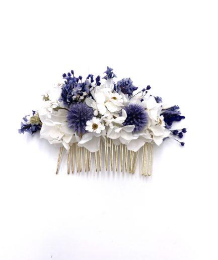 Peigne en fleurs séchées Violine pour la mariée