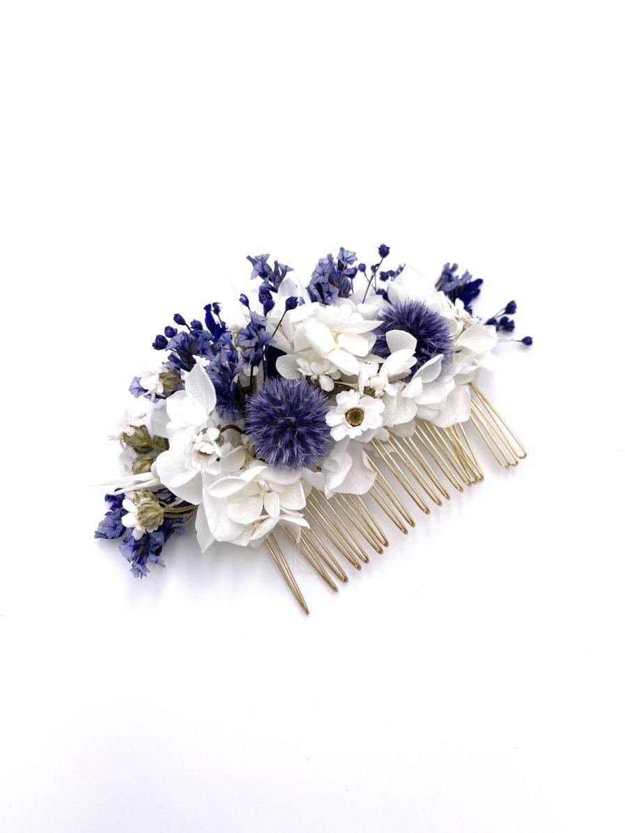 Peigne en fleurs séchées et stabilisées Violine