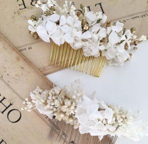 Peigne de mariage - accessoire mariée en fleurs naturelles - Les Fleurs Dupont