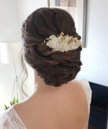 Peigne en fleurs stabilisées Aura - mariée Morgane