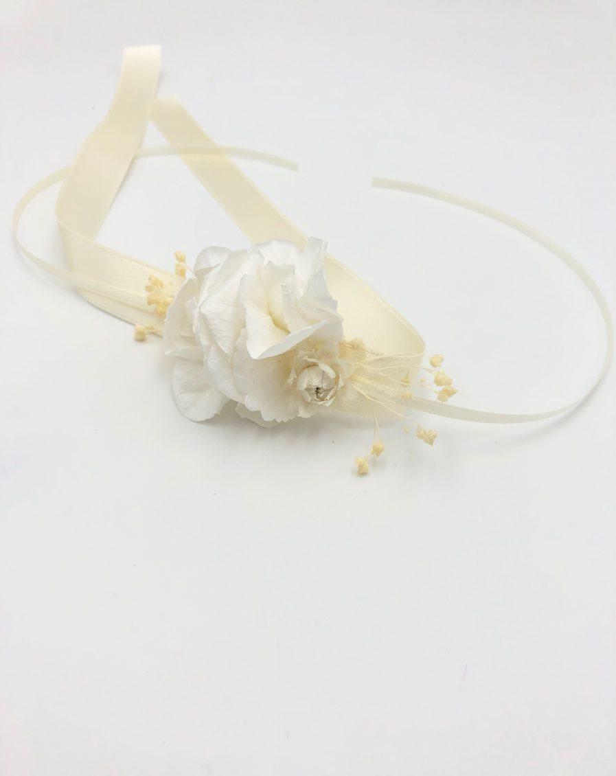 Bracelet de demoiselles d'honneur Candide en fleurs séchées et stabilisées