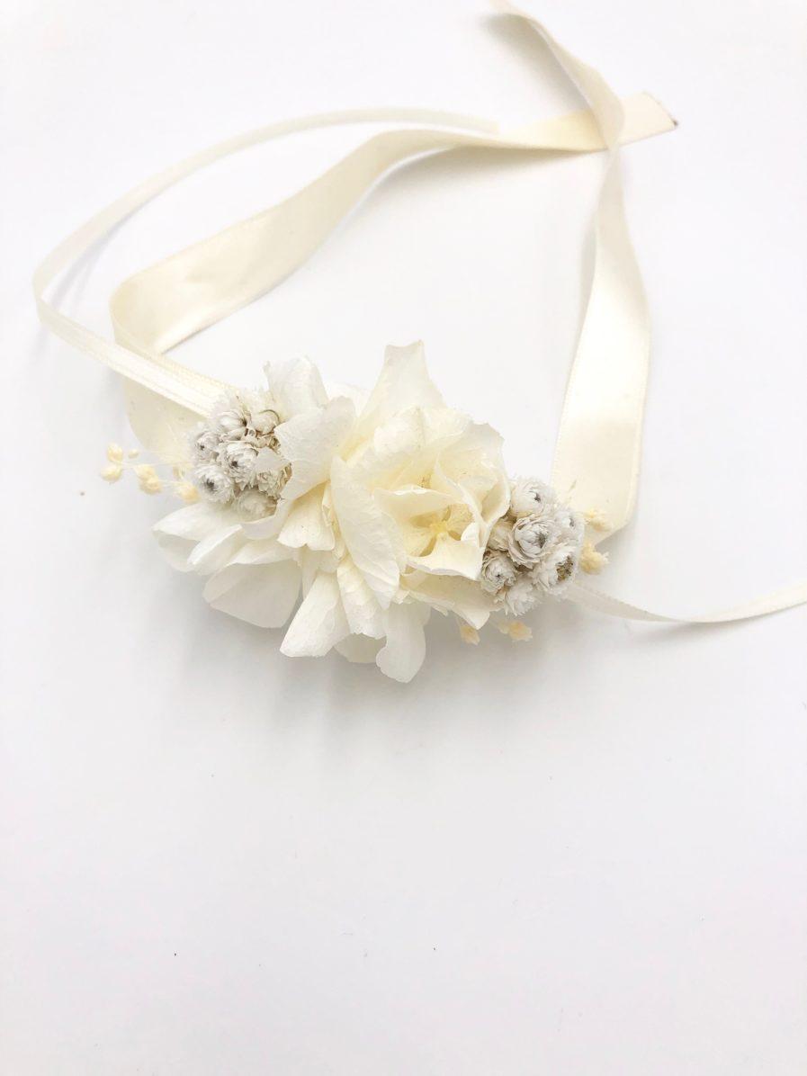 Bracelet de demoiselles d'honneur Immortelle en fleurs séchées